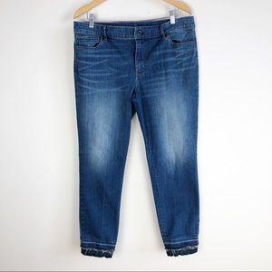 WHBM Slim Ankle Jeans Embellished Raw Hem Size 14